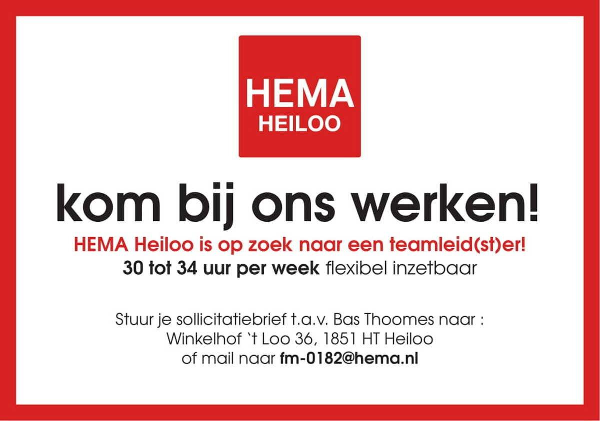 sollicitatiebrief hema HEMA Heiloo is op zoek naar een teamleid(st)er!   Alkmaarsdagblad.nl sollicitatiebrief hema