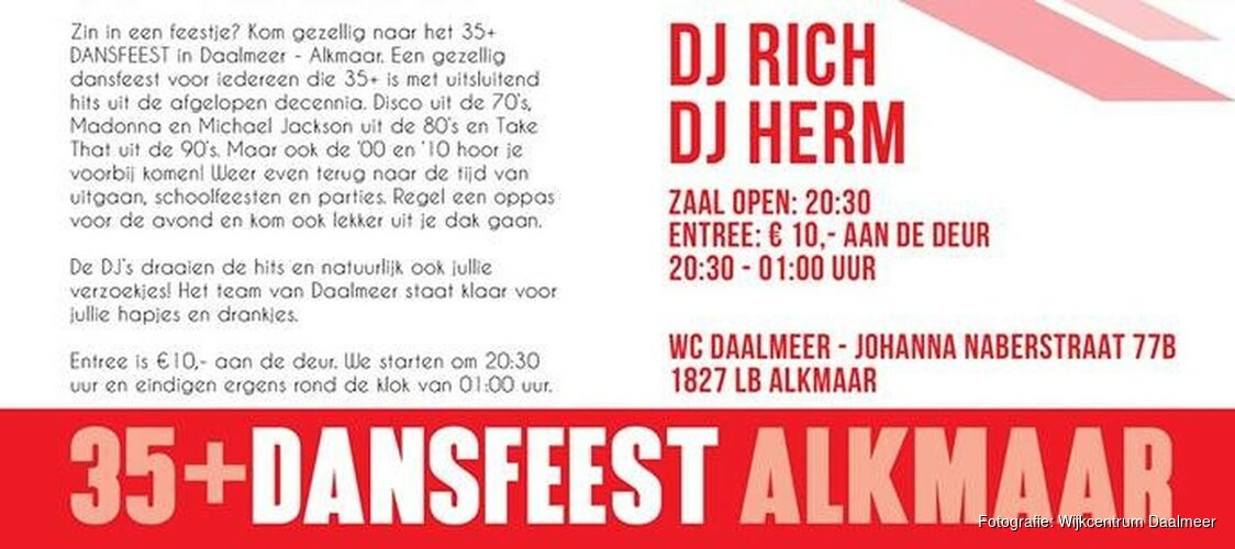 Wijkcentrum Daalmeer organiseert 35+ Dansfeest