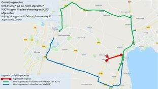 Weekendafsluiting kruising N243/N507 in Avenhorn