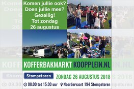 Zondag 26 augustus Koopplein Kofferbakmarkt in Stompetoren