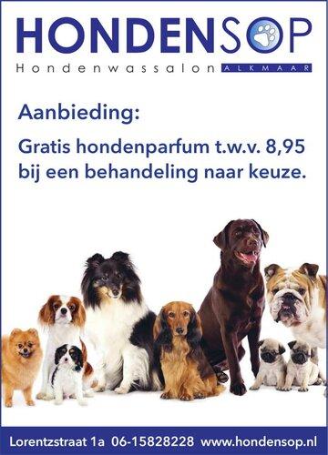 Gratis hondenparfum bij een behandeling naar keuze bij Hondensop