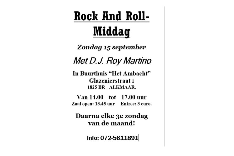 Rock and Roll met dj Roy Martino